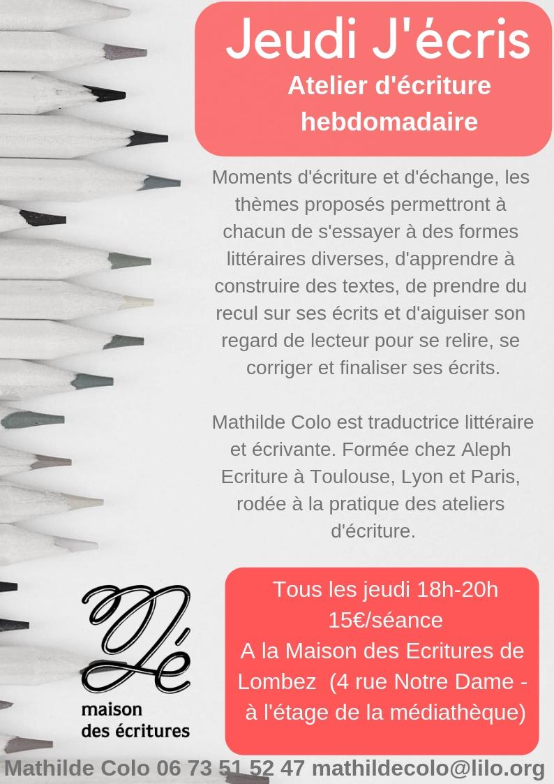 Flyer Jeudi J'ecris Maison des Ecritures de Lombez